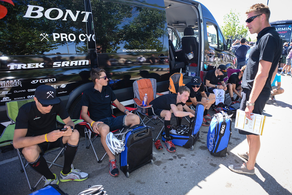 . Team Bontrager stays cool before the start of Stage 3 of the Amgen Tour of California.  Stage 3 winds from Palmdale to Santa Clarita.    Photo by David Crane/Staff Photographer