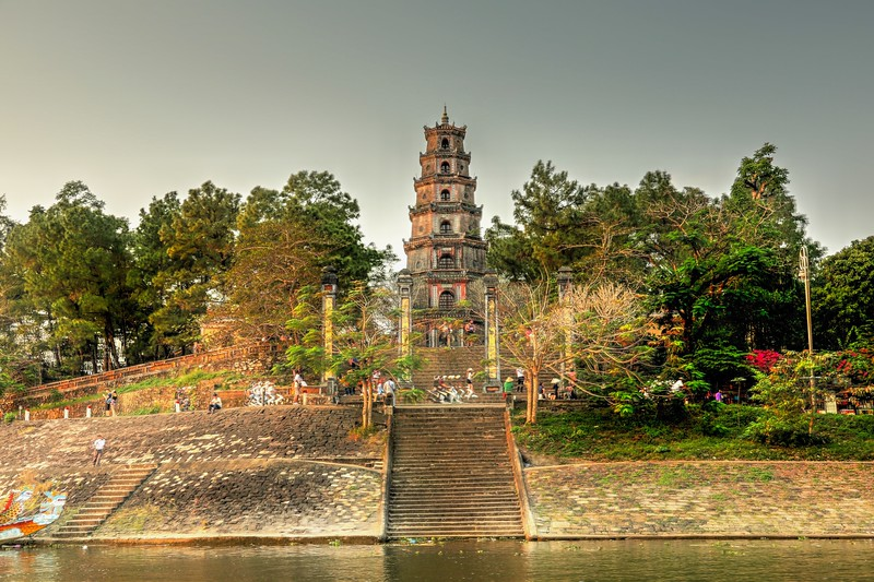 Thien Mu Pagoda - constructed in 1844 by the Nguyễn Dynasty on the northern bank of the Perfume River. - Hue