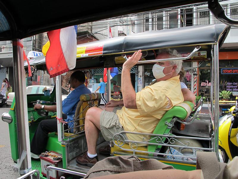 George and Deborah Cobb in a Tuk-Tuk in Bangkok.