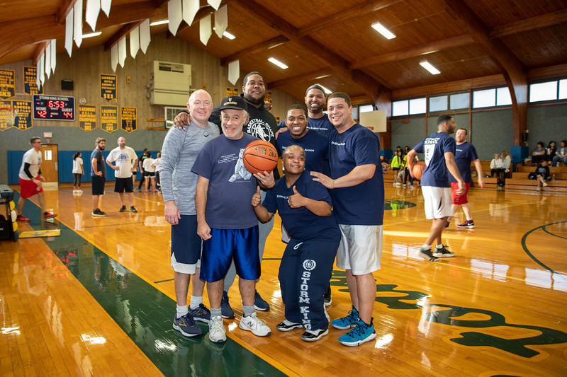 from left- Past coaches Kevin Houston, Kevin O'Brian with their past team members: Jermaine Miller '02, Richard Bailey '02, Shauntiece Puddon Hunt 01, Jon Lopes '00, David Bethea '1