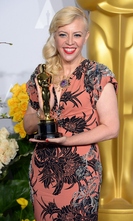 . Catherine Martin, who won the Oscar for Achievement in Costume Design, backstage at the 86th Academy Awards at the Dolby Theatre in Hollywood, California on Sunday March 2, 2014 (Photo by David Crane / Los Angeles Daily News)