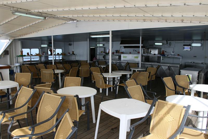 On board T/S FUNCHAL : Buffet, Navigators deck.