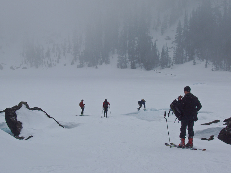 The combination of snow, fog, and low visibility at Lake Haiyaha provided an eerie effect on the area.