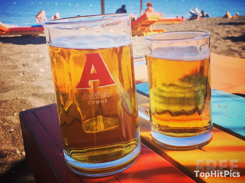 Alfa Beer (Αλφα) in Santorini, Greece
