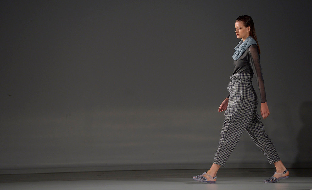 . A models wears a creation from Miriam Ponsa during a 080 Barcelona fashion show in Barcelona, Spain, Thursday, July 11, 2013.  (AP Photo/Manu Fernandez)