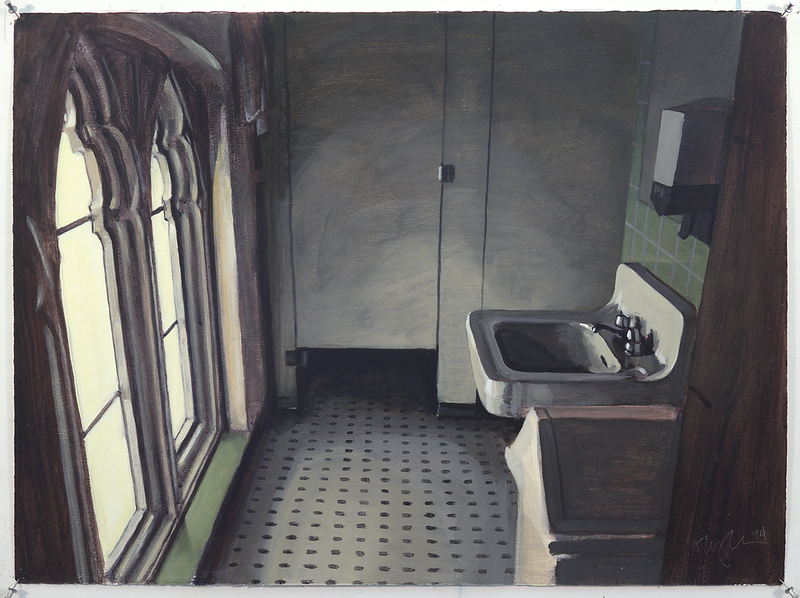 Ecclesiastical Bathroom; acrylic on paper, 22 x 30 in, 1994