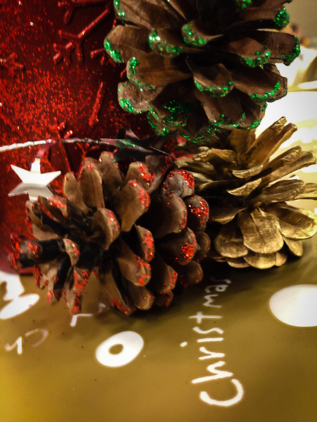 2016-12-02 – We had our ward Christmas party tonight. I generally don't enjoy ward parties, but this one was nice. Not too long or boring and we had some good food. The decorations were very festive and well done. This is a detail shot of the table decorations on our table. I love pine cones and found the colors and textures very inviting.