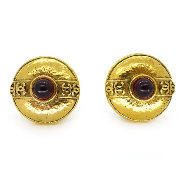 CONTEMPORARY CHANEL GOLD TONE CC RED GLASS CABOCHON CLIP EARRINGS