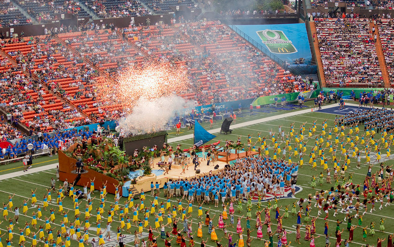 . Train performs before the NFL Pro Bowl football game in Honolulu, Sunday, Jan. 27, 2013. (AP Photo/Eugene Tanner)