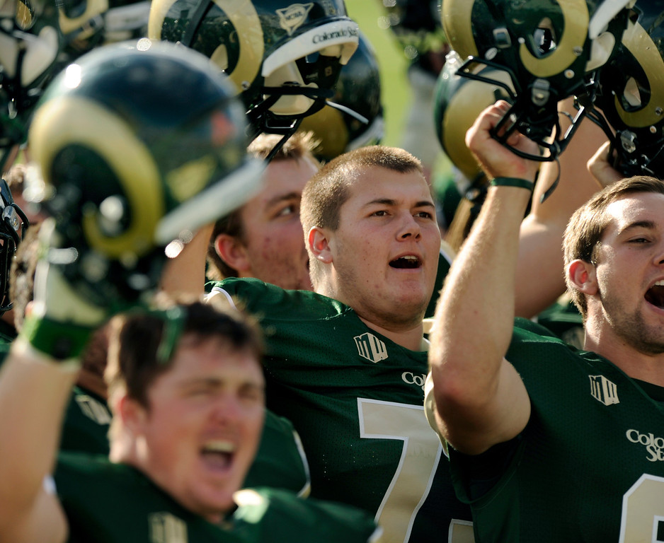 . FORT COLLINS, CO. - SEPTEMBER 14: The Colorado State University football team defeated Cal Poly at Hughes Stadium in Fort Collins Saturday afternoon, September 14, 2013.  It was the Rams\' first home game and first win of the season. Photo By Karl Gehring/The Denver Post