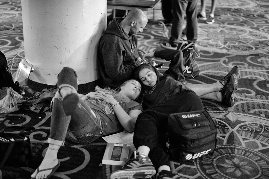 . Ronda Rousey and Justin Pierpoint keep Marina Shafir company as she waits to weigh in before her professional debut fight against  Chandra Engel at Hollywood Park Casino in Inglewood, CA.  (Photo by Hans Gutknecht/Los Angeles Daily News)