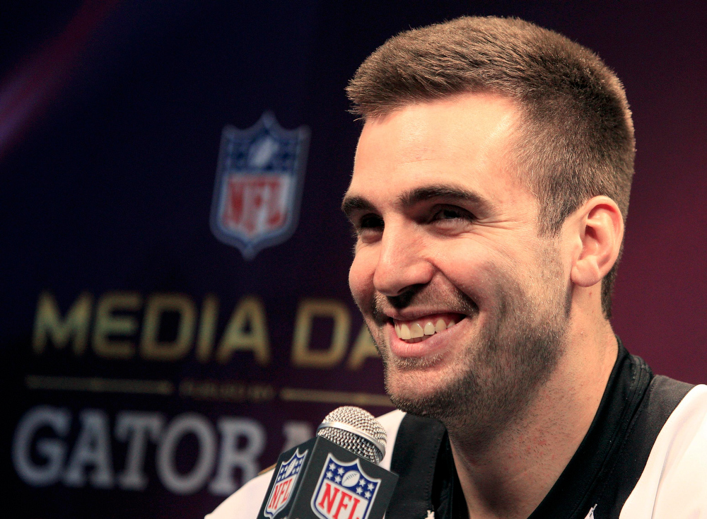 Description of . Baltimore Ravens quarterback Joe Flacco answers questions from journalists during Media Day for the NFL's Super Bowl XLVII in New Orleans, Louisiana January 29, 2013. The San Francisco 49ers will meet the Ravens in the game on February 3.  REUTERS/Sean Gardner