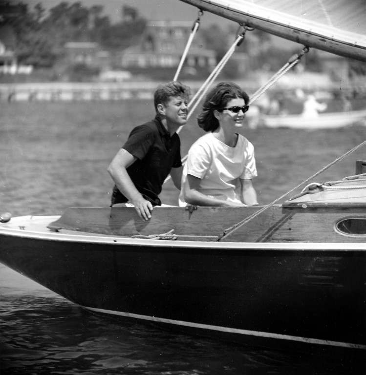. Sen.  Kennedy and Jacqueline relax aboard the family yacht, Marlin, before sailing around Nantucket sound at Hyannis Port, Mass., on July 19, 1960.