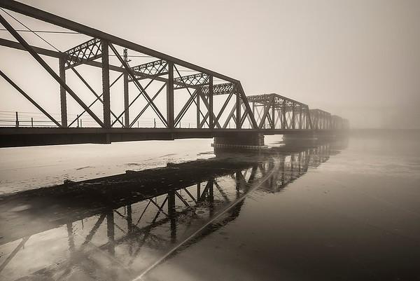 Chicago & Northwestern Cedar River Bridge in the Fog
