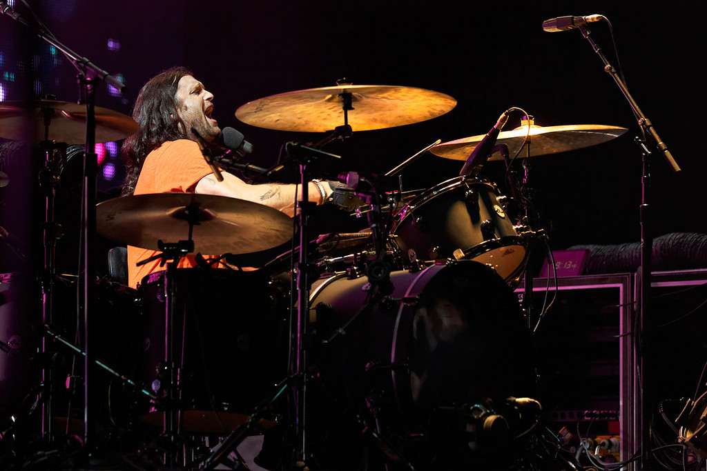 . Nathan Followill of Kings Of Leon at DTE-8-1-14. Photo by Ken Settle