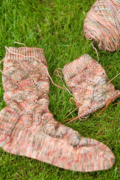 Spring Forward socks by Linda Welch, in Auracania Ranco Multi. Look at the squiggly lines that run down the socks.