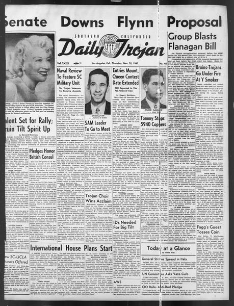 Daily Trojan, Vol. 39, No. 48, November 20, 1947
