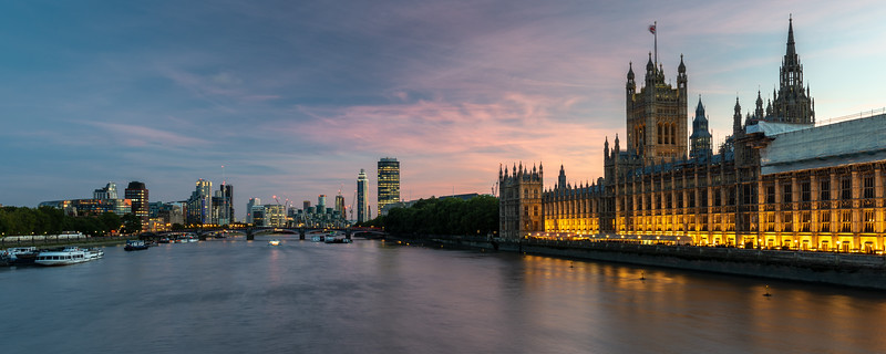 Parliament and Lambeth Bridge on the River Thames
