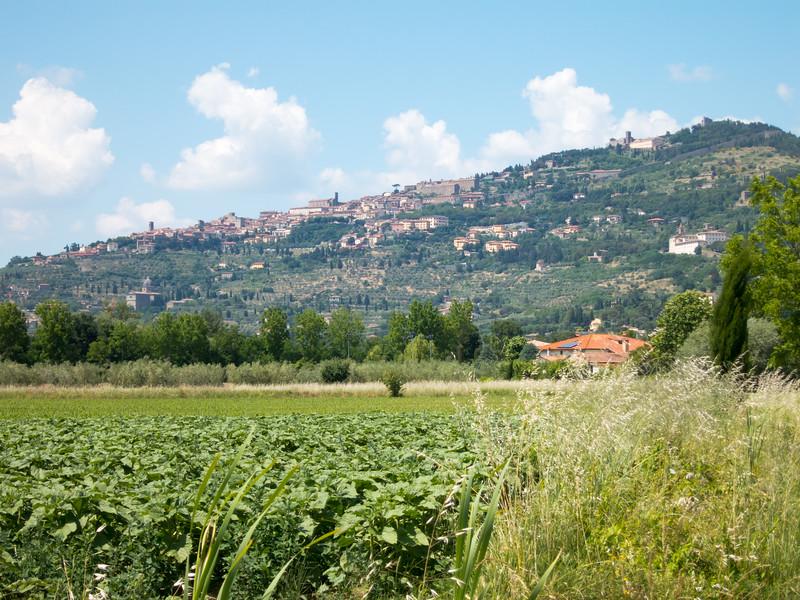 The hillside town of Cortona