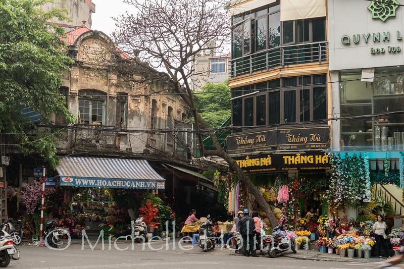 HANOI, VIETNAM - APRIL 5, 2019: Unidentified people at silk flower shops.