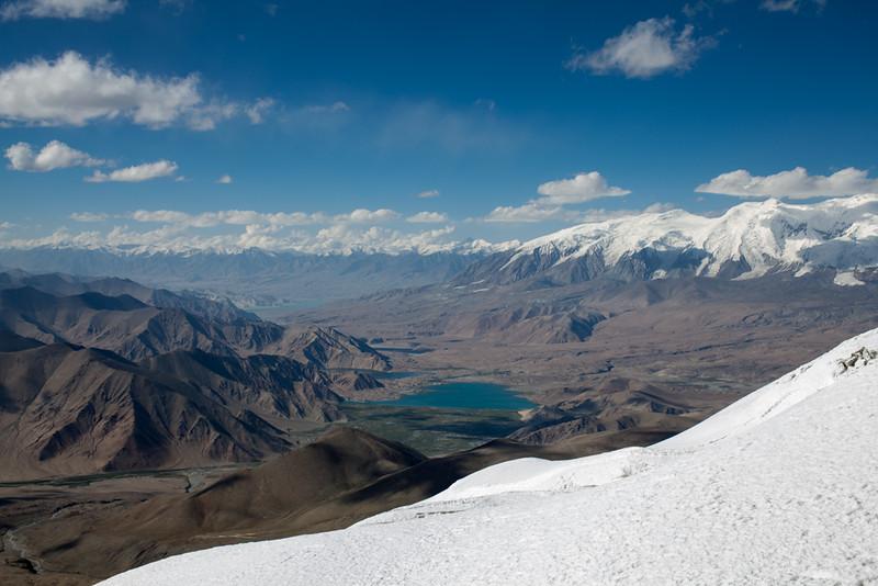 Lake Karakul on the horizon towards southeast.