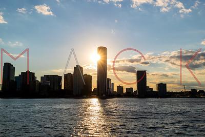 Hoboken, NJ - September 06:  View of the New Jersey Skyline from the Hudson River, Hoboken, USA