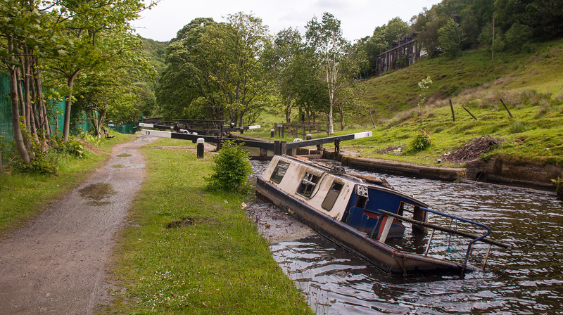 Wrecked narrowboat on the Rochdale Canal