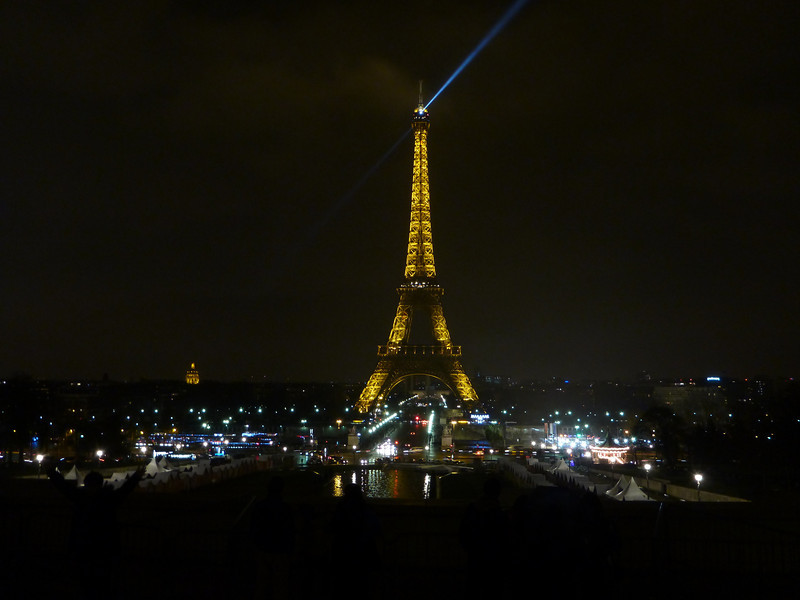 The Eiffel Tower at night, as seen from the Trocadero in Paris, France.