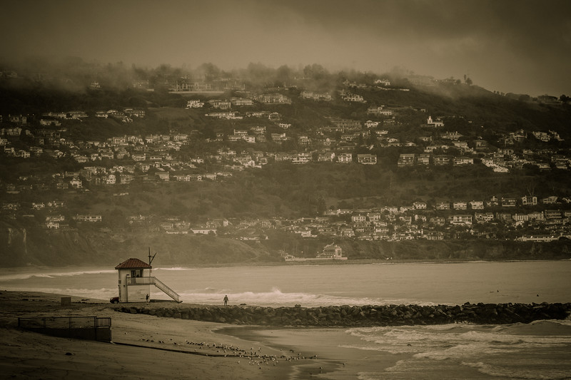 Redondo Beach, Jetty and Lifeguard Tower, Torrance Beach and Palos Verdes in the background