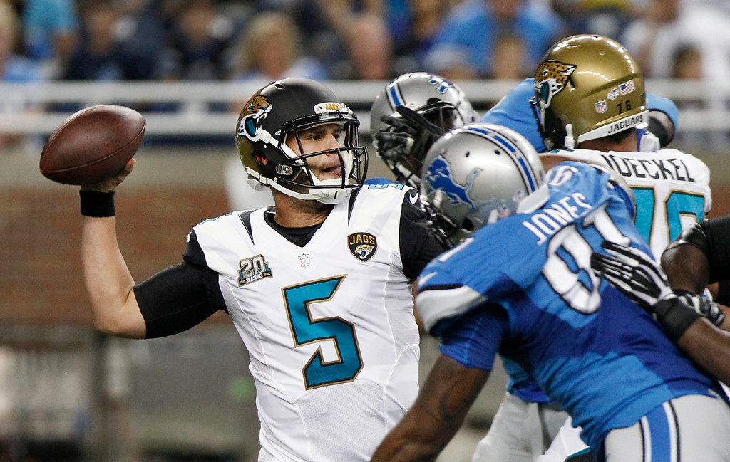 . Jacksonville Jaguars quarterback Blake Bortles (5) throws against the Detroit Lions in the first half of a preseason NFL football game at Ford Field in Detroit, Friday, Aug. 22, 2014.  (AP Photo/Duane Burleson)