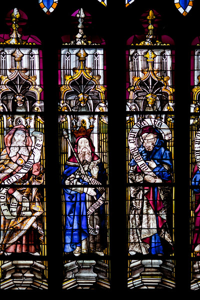 Detail from a stained glass window, Santa Maria de la Sede Cathedral, Seville, Spain