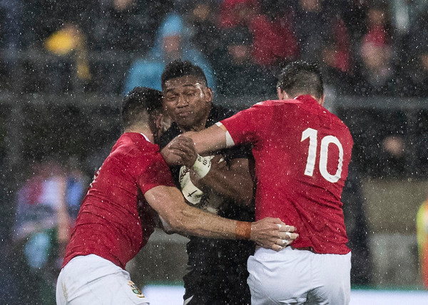 Waisake Naholo tackled during game 9 of the British and Irish Lions 2017 Tour of New Zealand, the second Test match between  The All Blacks and British and Irish Lions, Westpac Stadium, Wellington, Saturday 1st July 2017 (Photo by Kevin Booth Steve Haag Sports)  Images for social media must have consent from Steve Haag