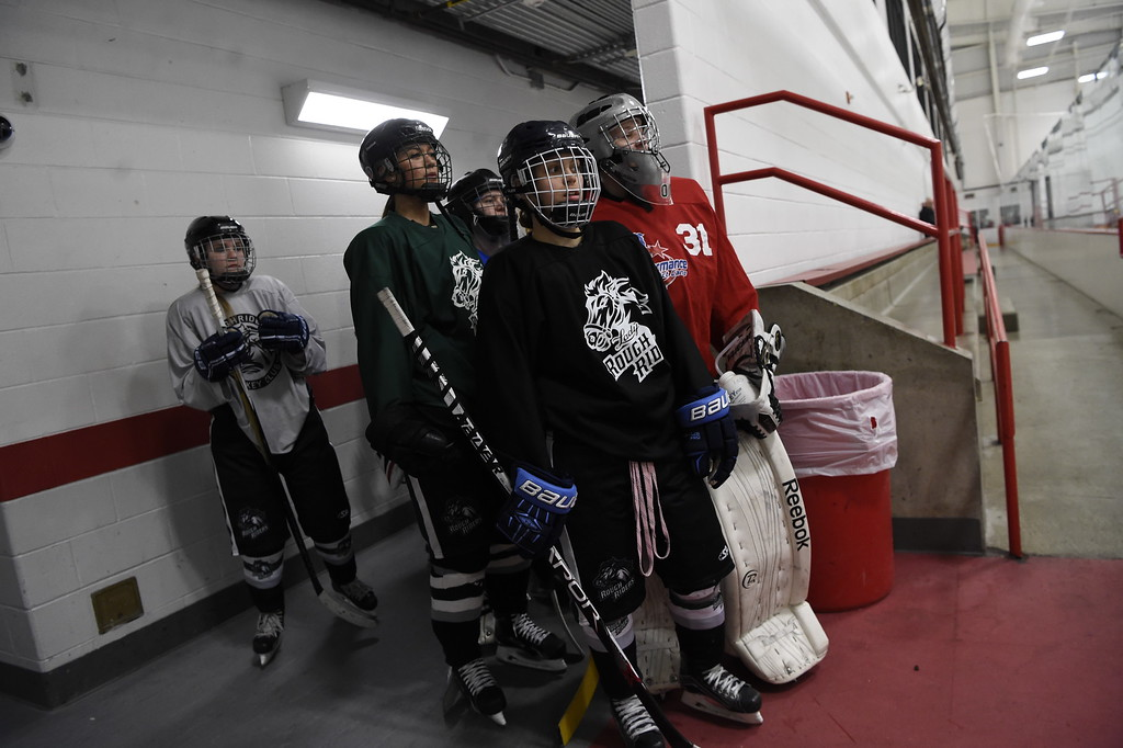 . The Lady Rough Riders head to the ice for their practice February 21, 2016 at the Ice Center at the Promenade. The growth of hockey in Colorado has gone up  in the last 20 years since The Avalanche came to town. (Photo By John Leyba/The Denver Post)