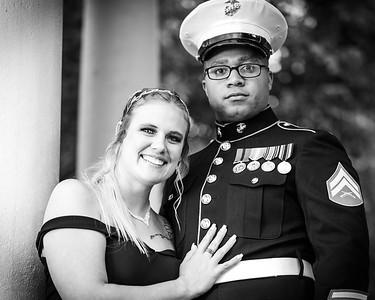 Caylee, James, Friends Marine Corp Ball B&W 11-15-2019