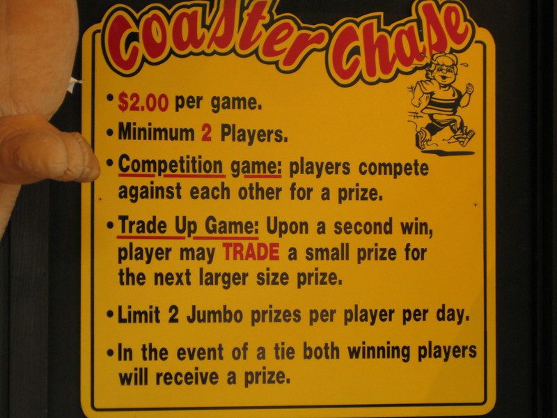 Coaster Chase game sign.
