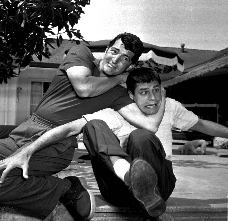 . Dean Martin, left, and Jerry Lewis clown around in May 1956 in Hollywood. (AP Photo)