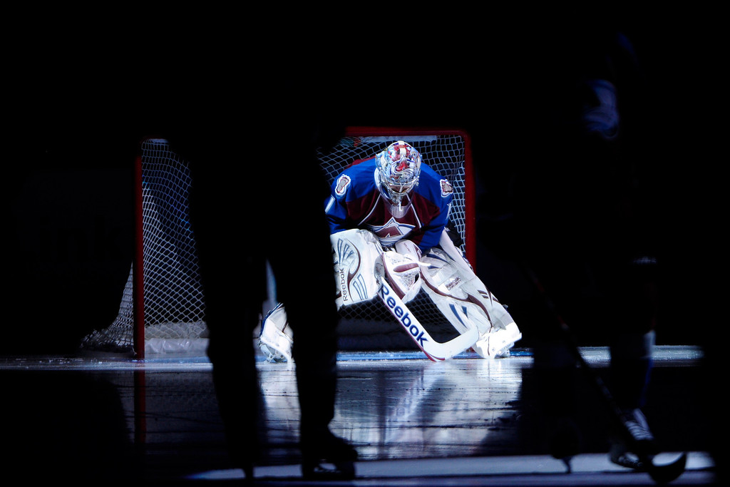 . Semyon Varlamov (1) of the Colorado Avalanche stretches before the first period of action. The Colorado Avalanche take on the Nashville Predators at the Pepsi Center on February 18, 2013. (Photo By AAron Ontiveroz/The Denver Post)
