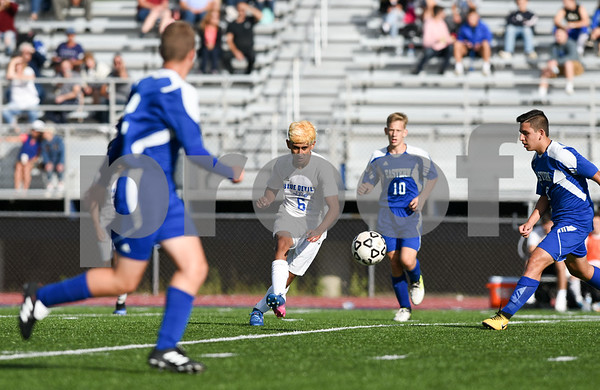 09/08/17 Wesley Bunnell   Staff Plainville Boys Soccer defeated visiting Bristol Eastern on Friday afternoon. Plainvilles Mike Torres (6) and Bristol Easterns Jake Woznicki #10.