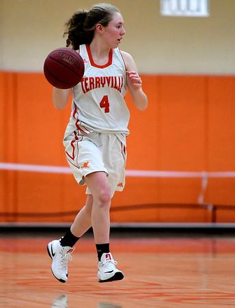 1/15/2019 Mike Orazzi | Staff Terryville High School's Zoe Zappone (4) at Terryville High School Tuesday night.