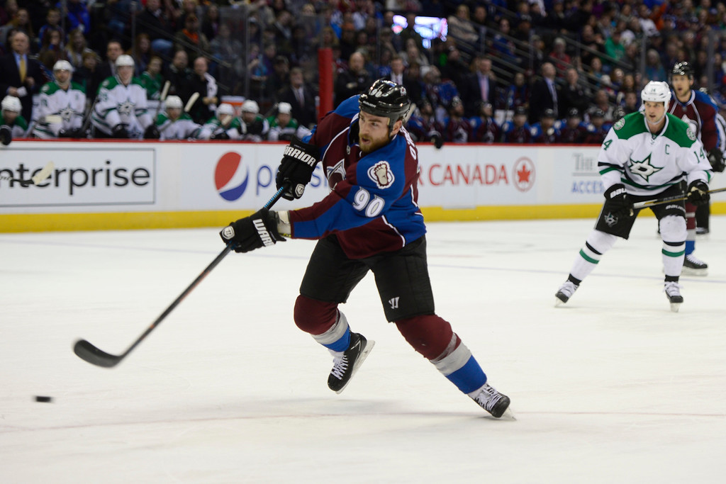 . Colorado Avalanche center Ryan O\'Reilly (90) goes for a shot on goal during the first period Saturday, February 14, 2015 at the Pepsi Center in Denver, Colorado. (Photo By Brent Lewis/The Denver Post)