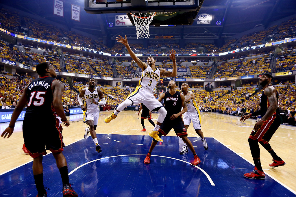 . INDIANAPOLIS, IN - MAY 28: George Hill #3 of the Indiana Pacers goes to the basket against the Miami Heat during Game Five of the Eastern Conference Finals of the 2014 NBA Playoffs at Bankers Life Fieldhouse on May 28, 2014 in Indianapolis, Indiana.  (Photo by Andy Lyons/Getty Images)