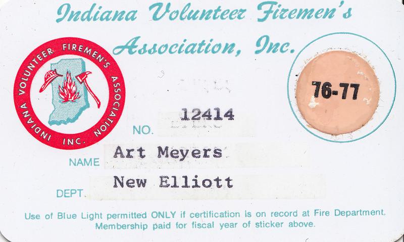 Art Meyers - Indiana Volunteer Firemens Assoc. Membership Card - 1976-77.jpg