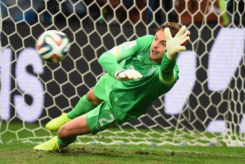 . Tim Krul of the Netherlands saves a penalty kick by Michael Umana of Costa Rica (not pictured) to win in a shootout during the 2014 FIFA World Cup Brazil Quarter Final match between the Netherlands and Costa Rica at Arena Fonte Nova on July 5, 2014 in Salvador, Brazil.  (Photo by Jamie McDonald/Getty Images)