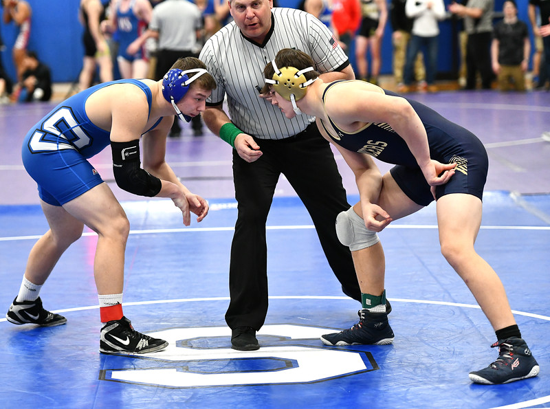 1/25/2020 Mike Orazzi | Staff Southington's Billy Carr and Notre Dame-Fairfield's Michale Agate in a 182 pound match at Southington High School on Saturday.
