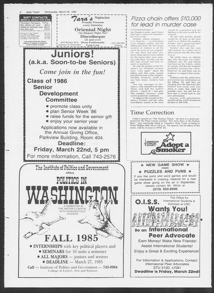 Daily Trojan, Vol. 98, No. 47, March 20, 1985