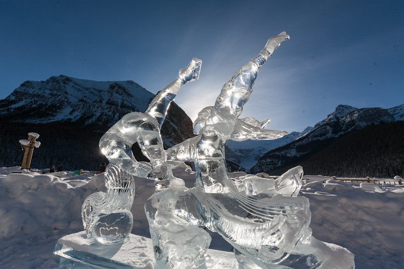 Ice sculptures glisten in the sun that were carved for the 2010 Winter Olympics in Canada