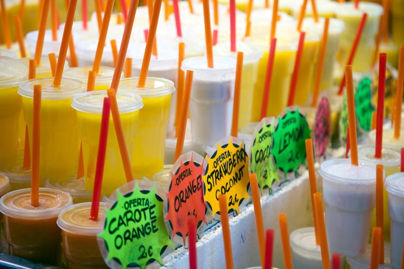 Natural juice for sale, Boqueria market, town of Barcelona, autonomous commnunity of Catalonia, northeastern Spain