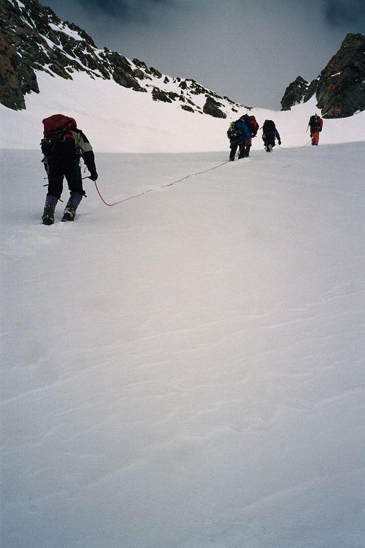 Climbing up to Kelman Hut. Dave (left). 19 Feb 04