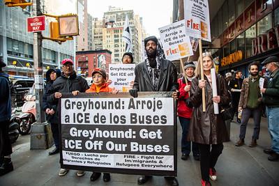 United National Antiwar Coalition (UNAC) ICE Off Greyhound, NYC, February 23