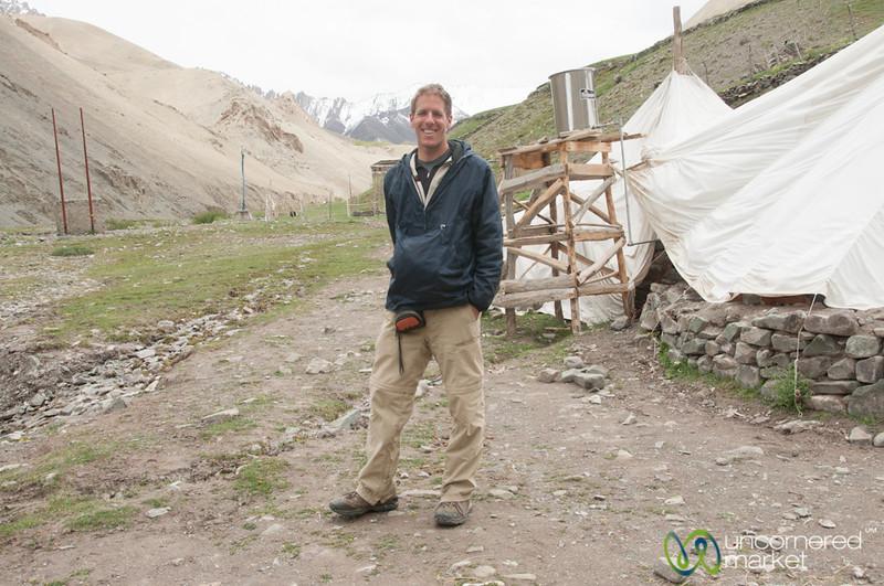 Dan outside a Tea House, Day 1 of Markha Valley Trek - Ladakh, India